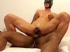 Black top fucks asian bottom in chastity
