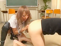 Japanese gyary boots femdom, school girls bullying leather boots humiliate
