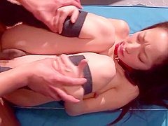 Charming oriental youthful harlot getting fingered