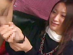 Japanese CFNM Japanese girl watches stranger jerk catches 3