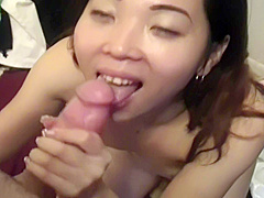 japanese wife first time sucking white dick on camera. cum on face
