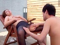 Korean slut has sex on the rooftop
