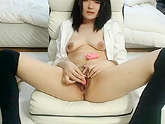 Japanese cutie toys her pussy then gets fucked and creampied