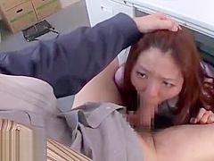 Japanese secretary face fucked by old boss