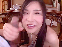 Racy breasty oriental Anri Okita performing an amazing foot fetish porn video