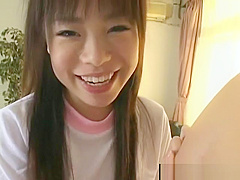 Asian coed gives POV blowjob