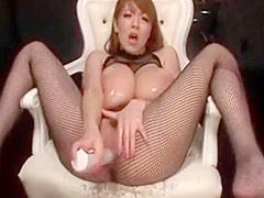 Hitomi Tanaka Solo masturbate in fishnet