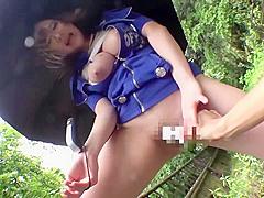 japanese girl masturbated in the rain