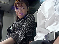 Japanese lady is sucking a rock hard meat stick in the train and getting fucked hard