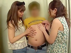Fabulous Japanese chick Hikaru Konno, Azusa Akane in Exotic college, threesomes JAV movie