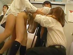 Fabulous Japanese girl Akane Mochida, Rina Himekawa in Incredible Gangbang, Fingering JAV scene