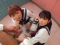 Horny Japanese girl Airi Nakashima, Ryouko Sena, Hina Otsuka in Exotic Threesomes, Handjobs JAV video