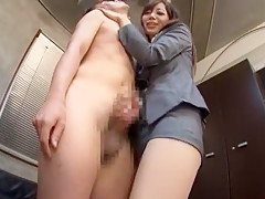 Horny Japanese chick Ran Kayama, Misa Takada, Miki Araki in Incredible Secretary, CFNM JAV scene