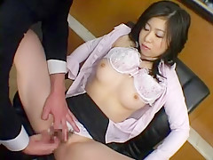 Horny Japanese chick in Hottest Office, Fingering JAV video