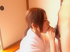 Horny Japanese whore Rinka Kinjo in Crazy Handjobs JAV scene