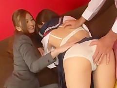 Horny Japanese whore Mika Osawa in Best Threesomes, Handjobs JAV movie