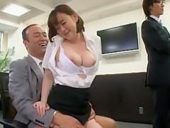 Incredible Japanese model Saki Asahina, Minako Uchida, Kyouko Maki in Hottest Secretary, Blowjob JAV scene